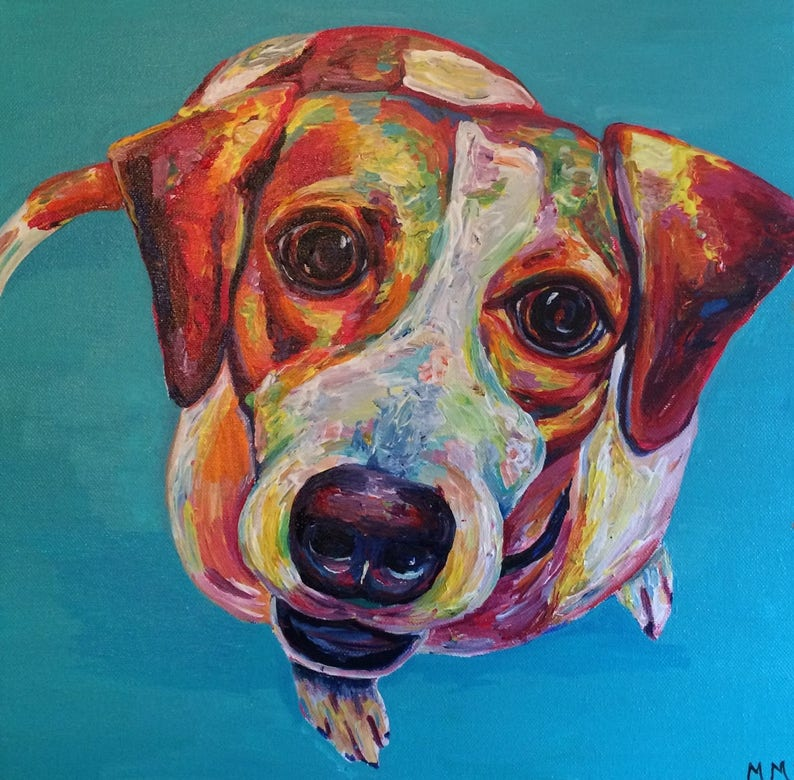 dog lover gifts custom pet portrait painting pet loss gifts dog painting custom dog memorial dog painting colorful Custom dog portrait