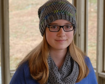 Crochet Hat + Scarf Set | Slouchy hat + Cowl | Hat and scarf set for women