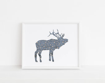 Starry Reindeer Print | Reindeer | Christmas Art | Winter Art | Printable Art | Nursery Art | Gallery Wall Art | Wall Art | Instant Download