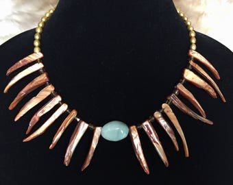 Mother of Pearl Spike & Amazonite Necklace
