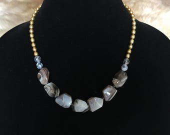 Faceted Agate & Freshwater Pearl Necklace