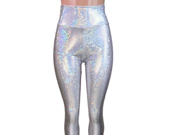 cd71367569b2b Silver Shattered Glass Holographic High Waisted Leggings Pants - Rave,  Festival, EDM, 80s Clothing - High Waisted Funky