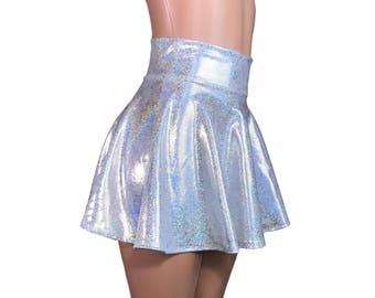 High Waisted Skater Skirt - Holographic Silver on White - Sparkle Mini Skirt - Rave Skirt