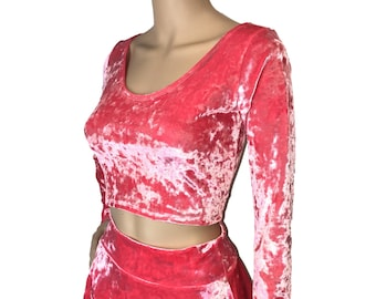 5db97fa6f3207 Pink Crushed Velvet Long Sleeve Crop Top - bodycon Clubwear