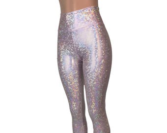 a582988c296d53 Blush Pink Shattered Glass Holographic Leggings Pants - Rave, Festival,  EDM, 80s Clothing - High Waisted Funky