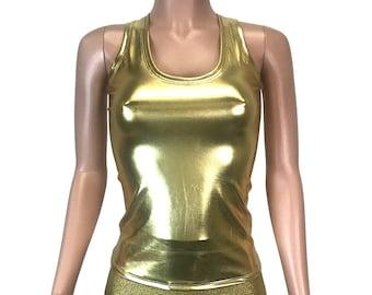 23456cdb526243 Gold Metallic Tank Top - Bodycon Clubwear