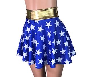 Wonder Woman Inspired High Waisted Skater Skirt - Clubwear, Rave Wear, Mini Circle Skirt - Jessie Graff