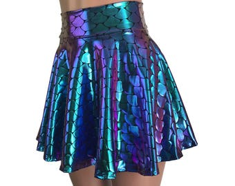 1797f837dc Mermaid Costume Skirt - Holographic Scales Skater Skirt - Rave Clothing,  Festival Clothes, Holograph Mermaid