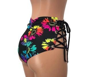 Scrunch Lace-Up Bikini Festival Clothes Brazilian Bikini Bottom High Waist *Silver Mermaid Scale* Ruched Booty Shorts Rave Clothing