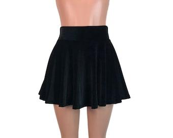 278e1be831fd Black Velvet Skater Skirt - High Waist - Velvet Mini Skirt - Festival  Clothing - Boho Skirt