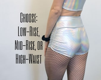 6ee151387da Ruched High Waist Shorts - Opal Holographic Booty Shorts - CHOOSE your RISE  - Roller Derby
