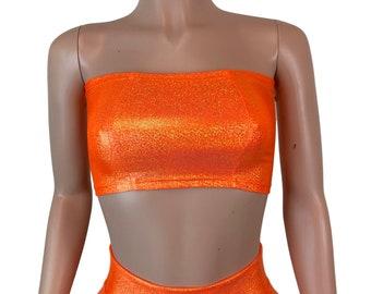 fe9992d1d79ed Tube Top Bandeau  Orange Sparkle  Holographic Crop Top - Rave Top -  Festival Clothing