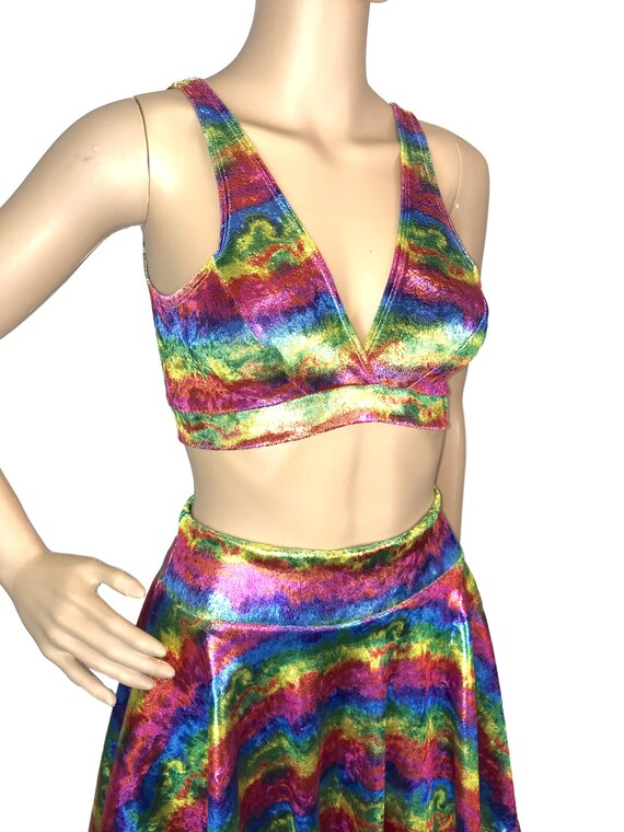 9634256caae3d Metallic Rainbow Velvet Bralette Rave Wear Activewear