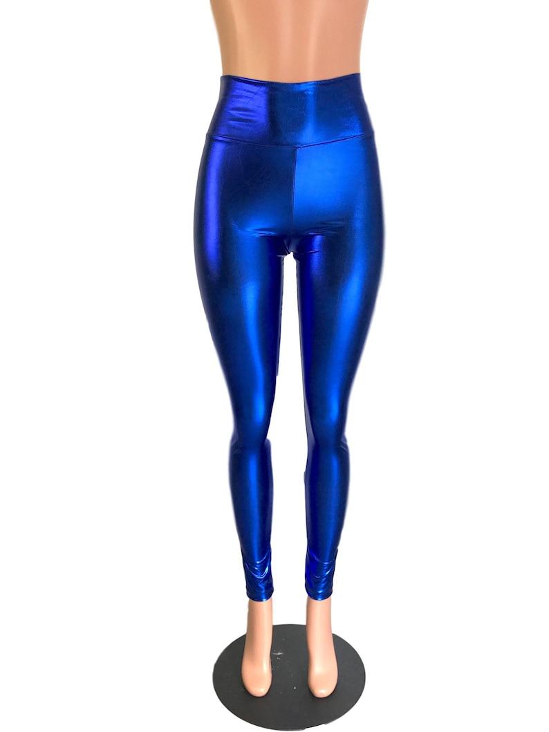 4accc0d9e257f Metallic Blue Leggings Pants Rave Festival EDM 80s | Etsy
