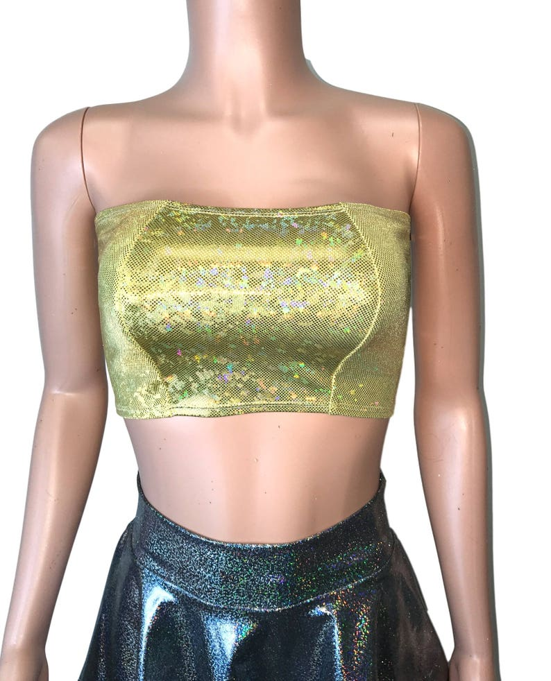 637dfb22821 Gold Shattered Glass Holographic Tube Top bodycon Clubwear