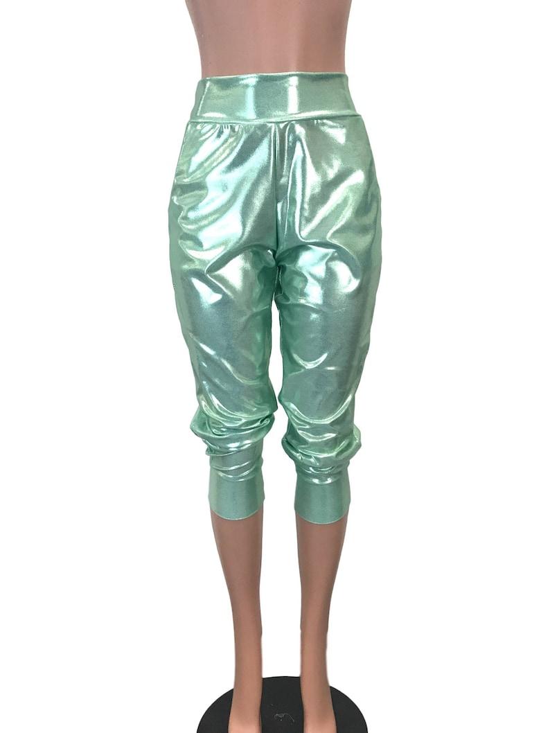 286cecd16bec2 Metallic Joggers w/ Pockets Mint Green High Waisted Jogger   Etsy