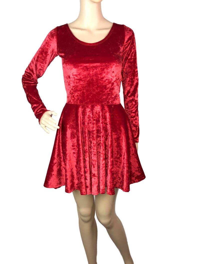 6360762e0f2 Red Crushed Velvet Long Sleeve Skater Dress Fit n Flare