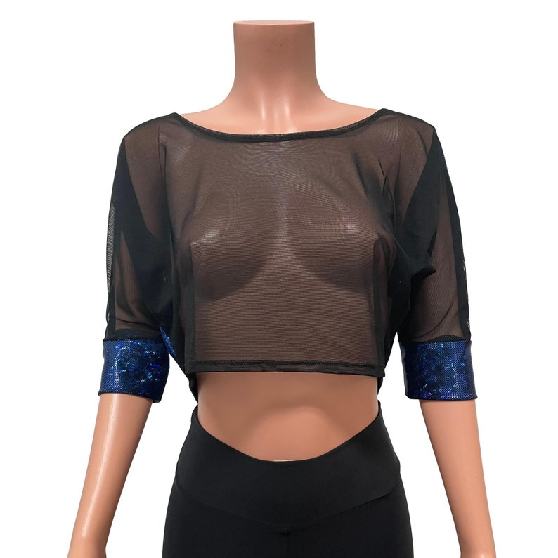 Loose Tee Rave Top Festival Clothing Dolman Crop Top in Black Mesh and Blue Holographic Shattered Glass