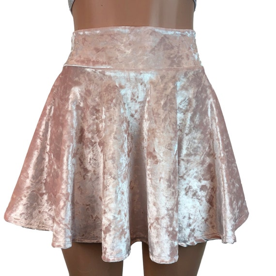 ef400379a High Waisted Skater Skirt Crushed Velvet Petal Pink Mini | Etsy