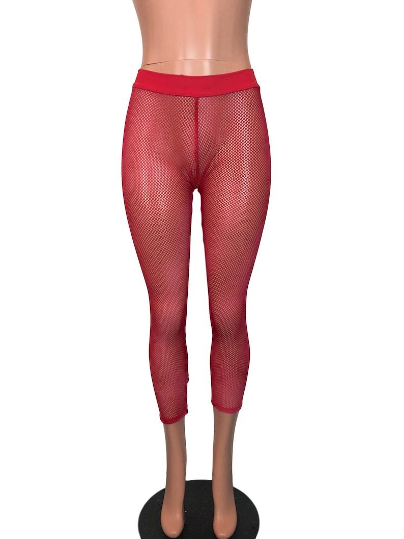 ec2e8c5f8e8a6 Red Fishnet Low Waist Leggings Pants Rave Festival EDM | Etsy