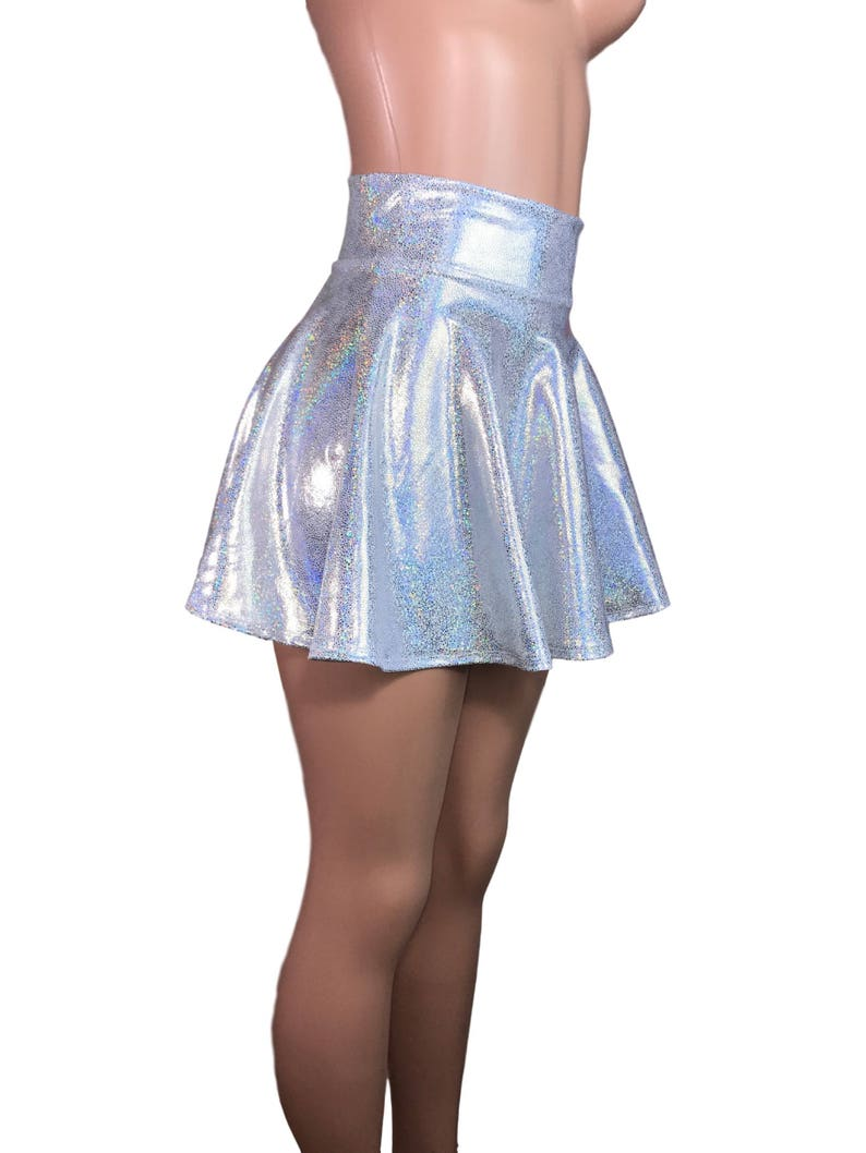 1f87fc6b91a0 High Waisted Skater Skirt Holographic Silver on White | Etsy