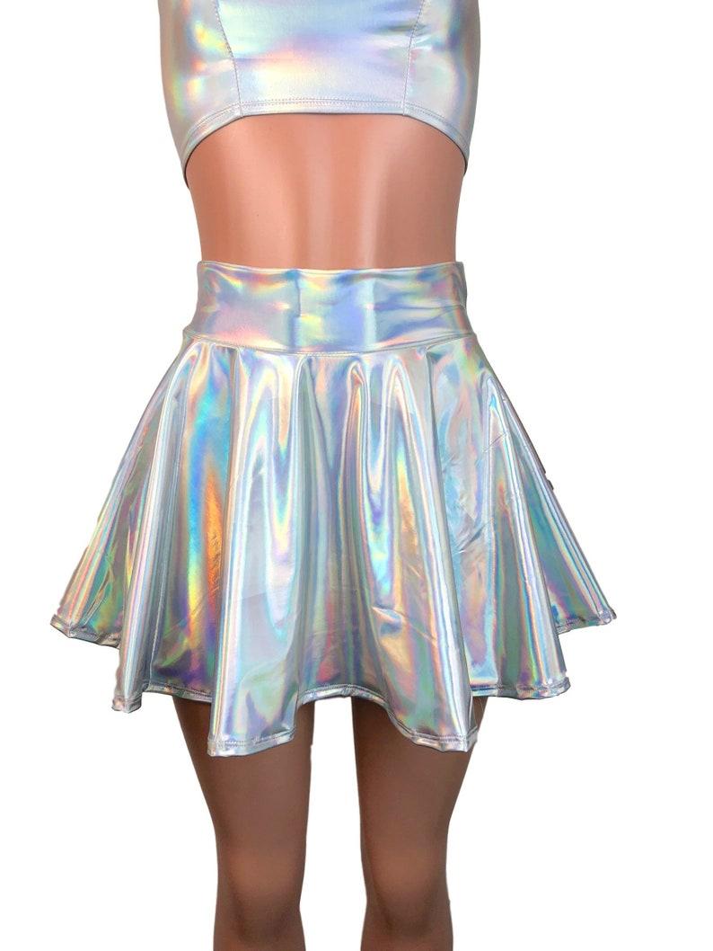 2ff5bf30f5b Opal Holographic Skater Skirt Holograph Rave Skirt