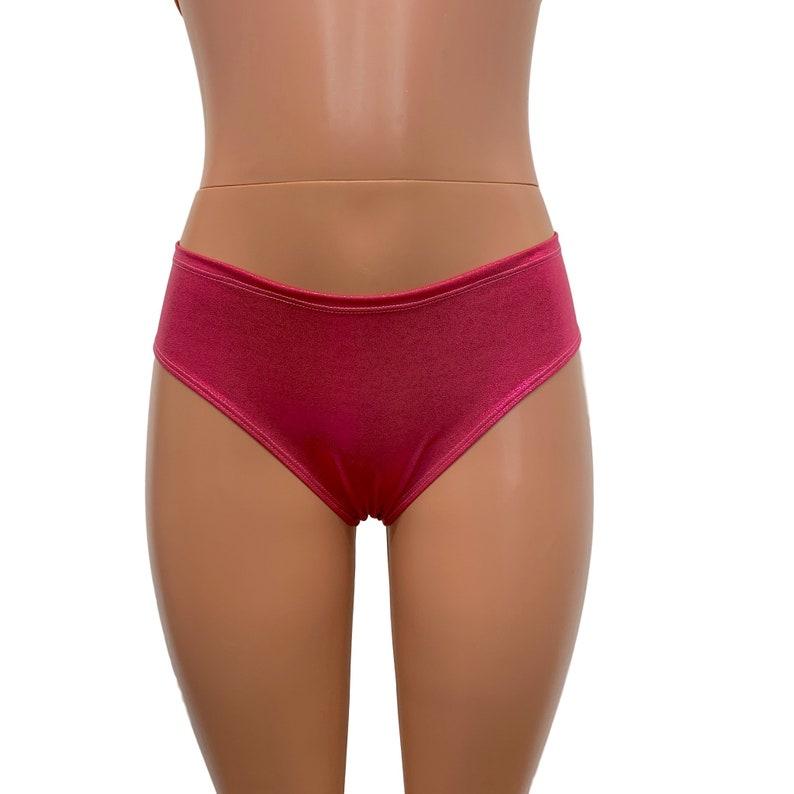 Cheeky Bikini Bottom Metallic Bikini Festival Shorts Rave Bottoms *Pink Mystique*