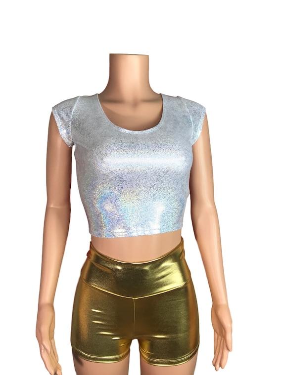 2c973b0118974 Silver Holographic Metallic Cap Sleeve Crop Top bodycon