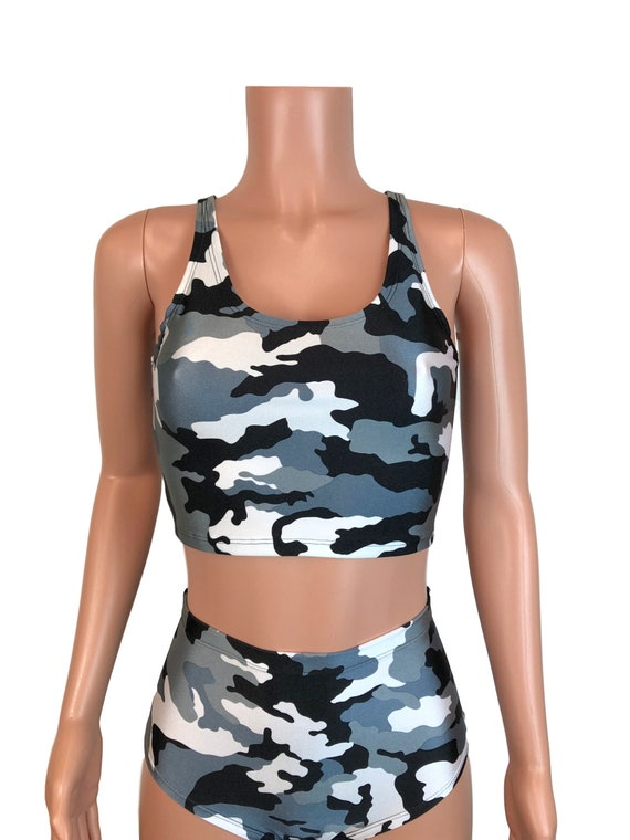 6e688b0c7b2b9 Black   White Camo Camouflage Tank Crop Top Bodycon