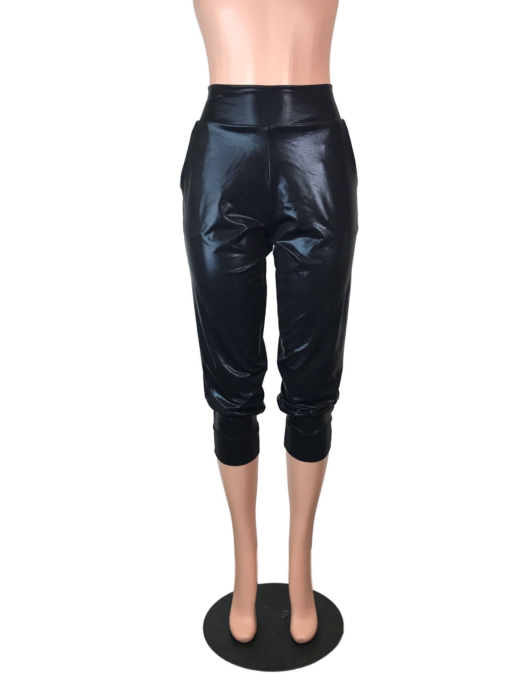 def67db91670f Black Mystique Metallic Joggers w/ Pockets High Waisted   Etsy