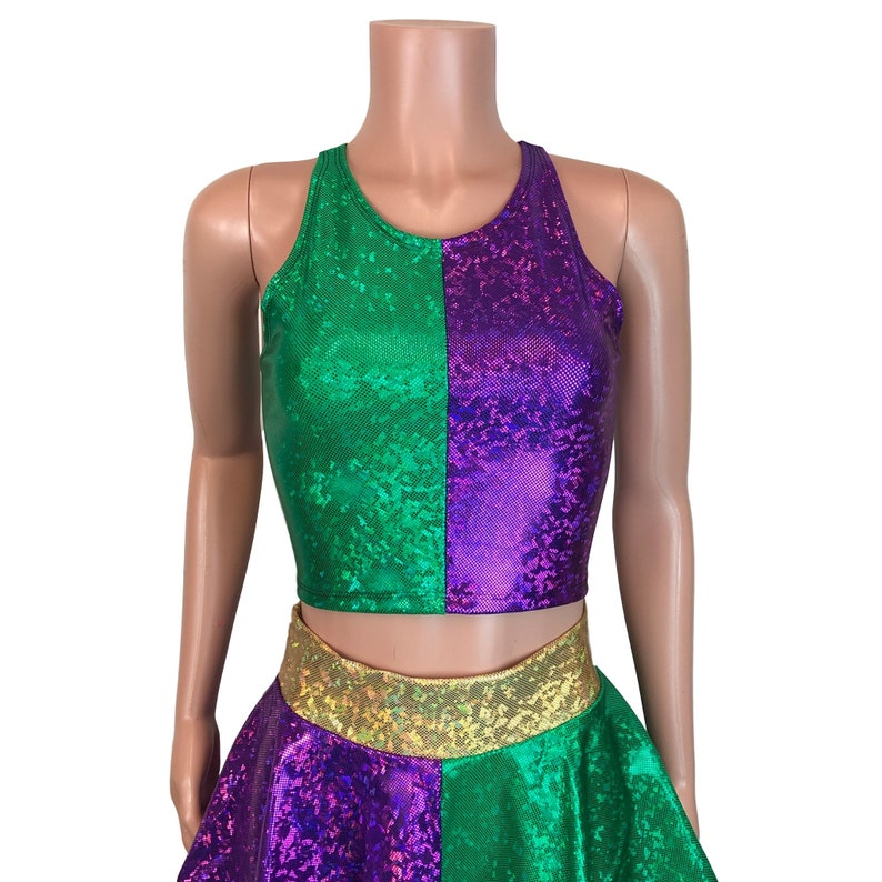672c1fe53c Mardi Gras Top Holographic High Neck Top Rave Clothing