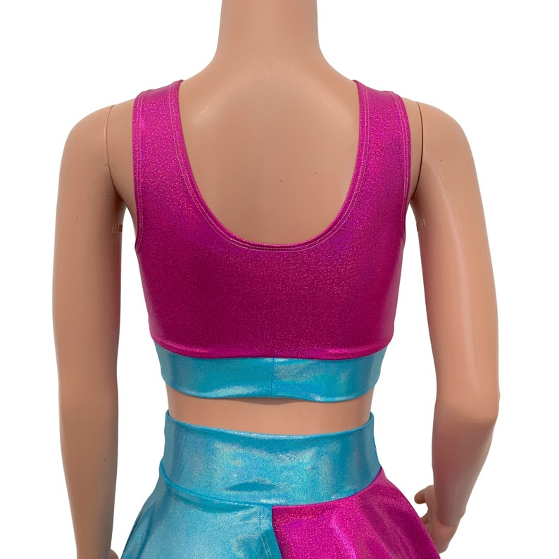 Banded Scrunch Crop Tank Festival Top Rave Outfit Blue /& Pink Sparkle Holographic