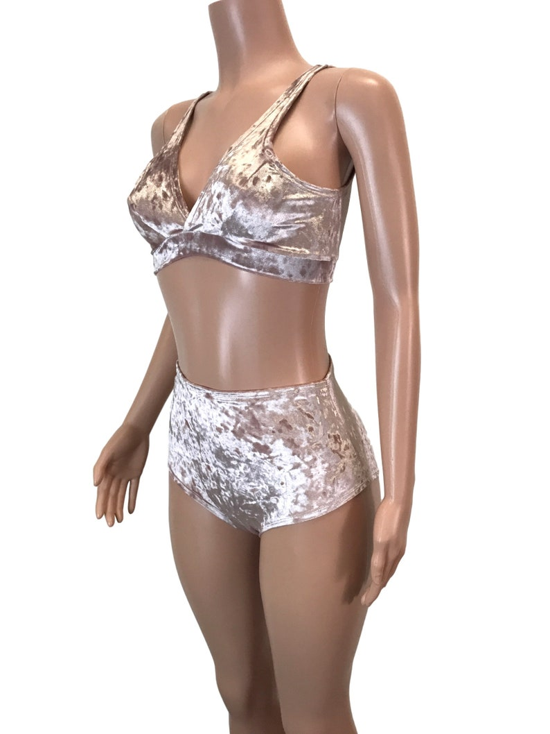 24942970f7 Dusty Pink Crushed Velvet High Waist Bikini Rave Outfit Rave
