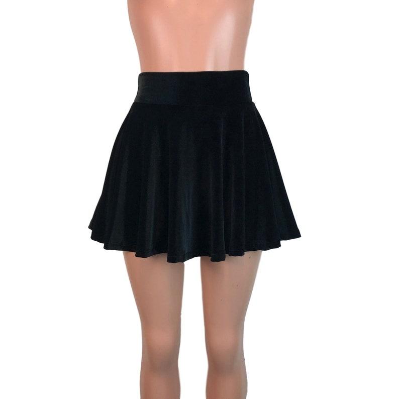 b2b560c61 Black Velvet Skater Skirt High Waist Velvet Mini Skirt   Etsy