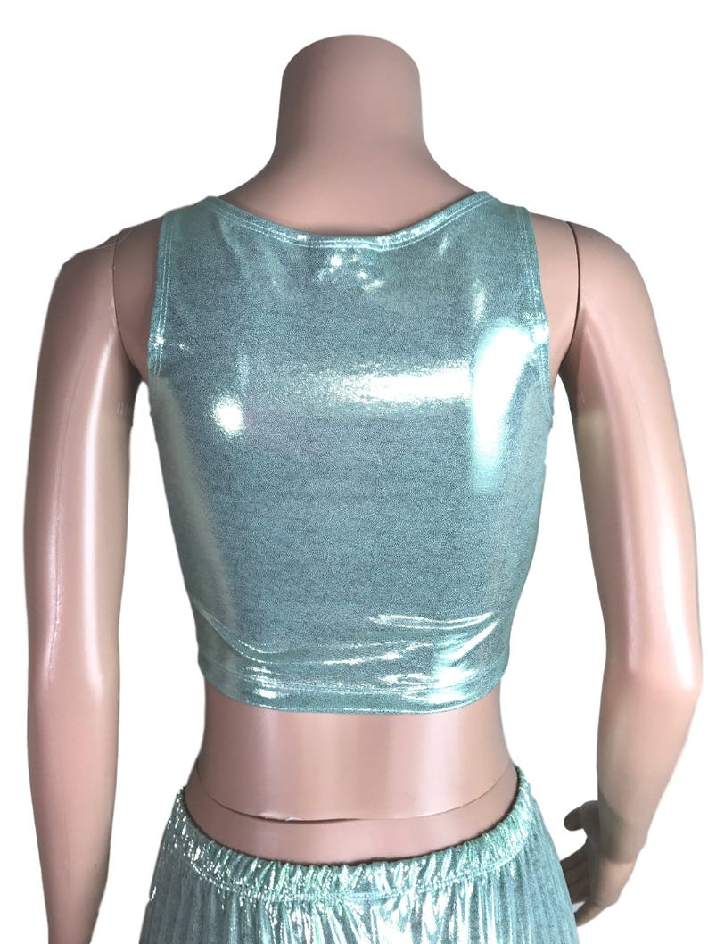 bb06fc9addd91 Metallic Mint Crop Top bodycon Clubwear Rave Wear