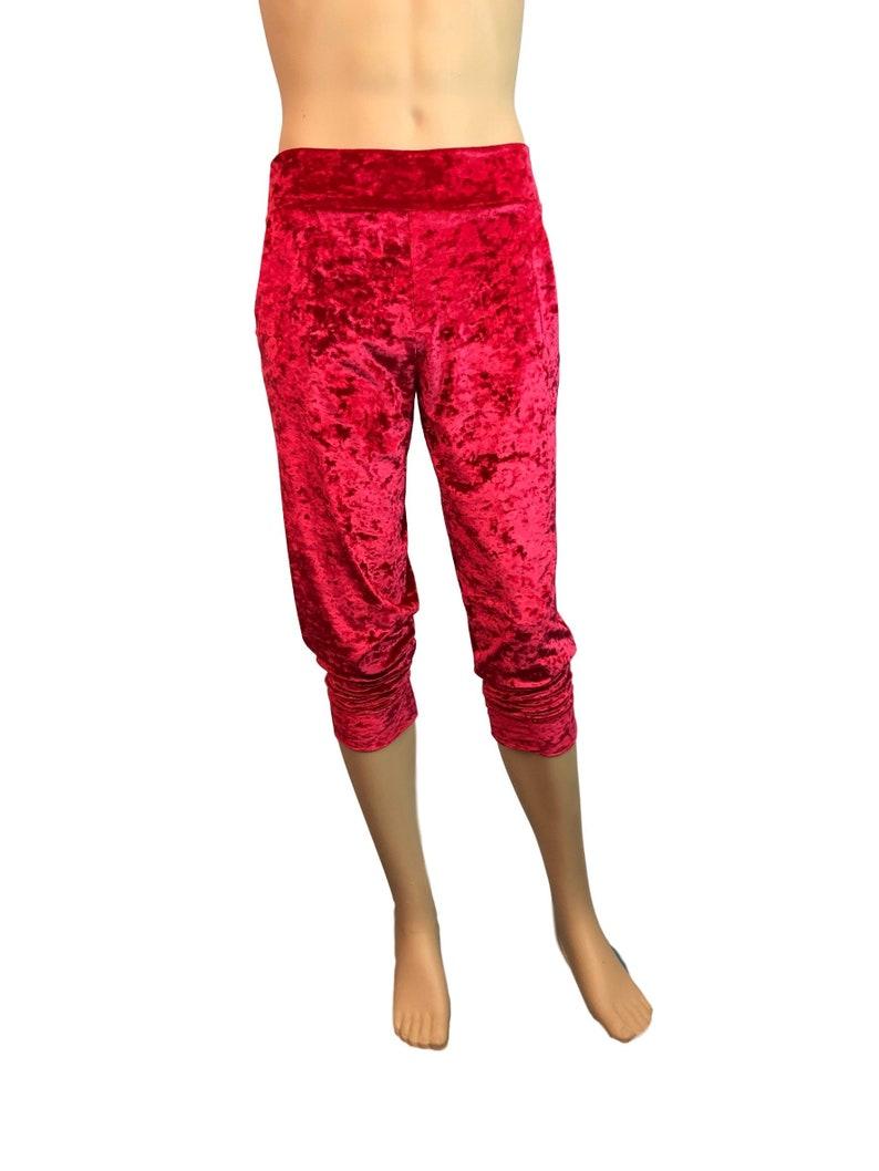 689717577a785 Men's Red Crushed Velvet Joggers w/ Pockets Jogger Pants   Etsy