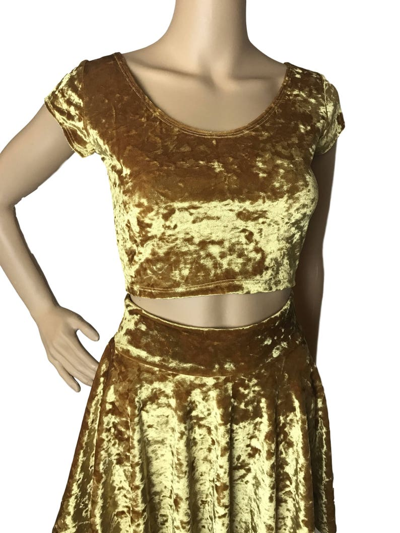 5eff2b46e386f Gold Crushed Velvet Cap Sleeve Crop Top bodycon Clubwear