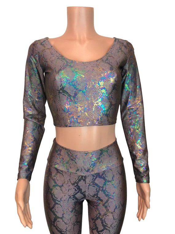 916725366b615 Snakeskin Holograph Long Sleeve Crop Top bodycon Clubwear