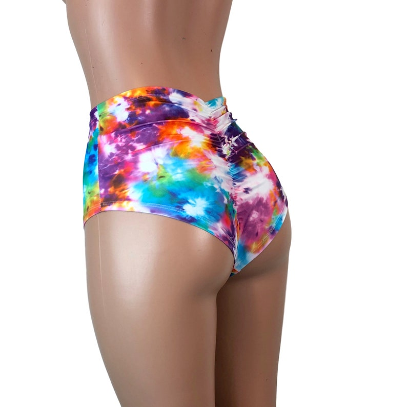 c9053700e1b Scrunch Bikini - High Waist *Tie Dye Blitz* Booty Shorts - Brazilian Bikini  Bottom - Rave Clothing, Festival Clothes