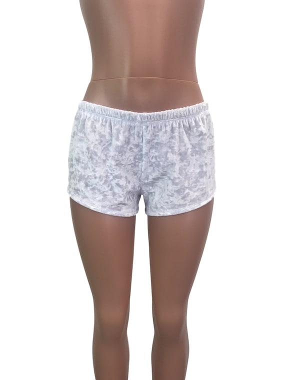 White Crushed Velvet Rave Shorts Running shorts  b280d52c0