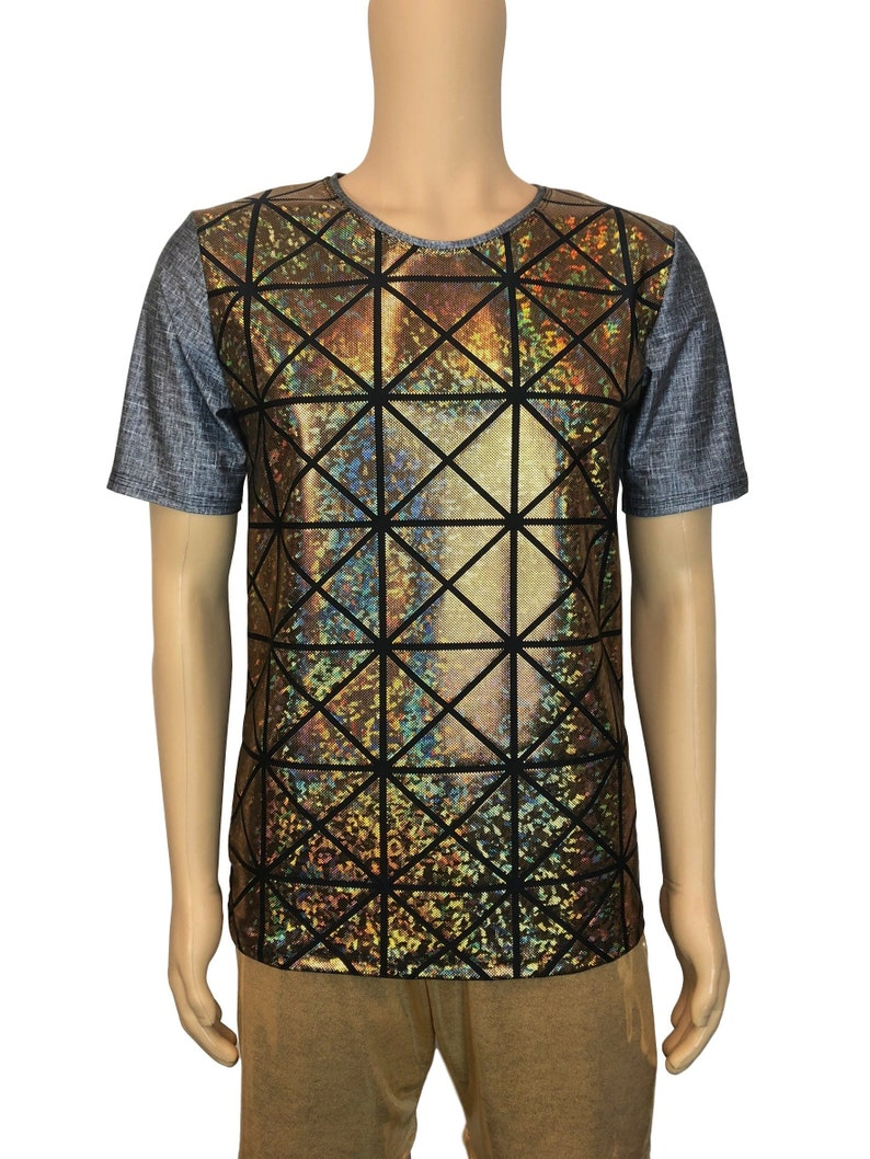 5e197578 Men's Holographic Tee or T-shirt, *Linen Print* w/Gold Glass Pane Shattered  Glass, Men's Holo Top, Rave Clothing, Burning Man