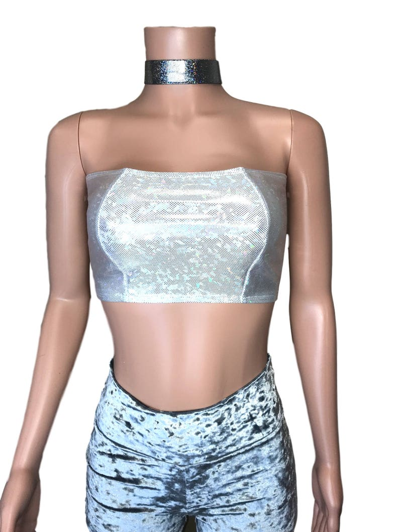 4bba82c1f36 Silver Shattered Glass Holographic Tube Top Bandeau bodycon