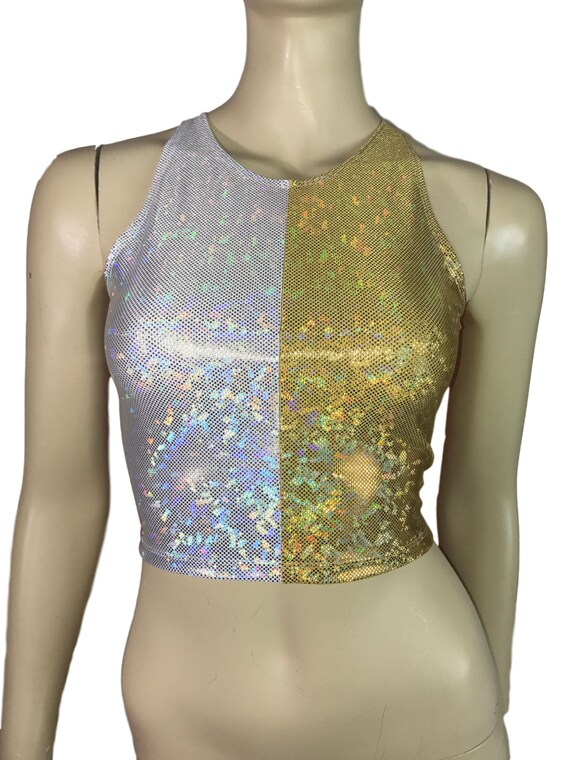 396a732220034 Silver Gold Holographic Shattered Glass Crop Top bodycon