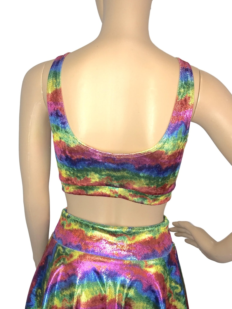 festival top Running Rave Wear Metallic Rainbow Velvet Bralette Activewear Yoga crossfit