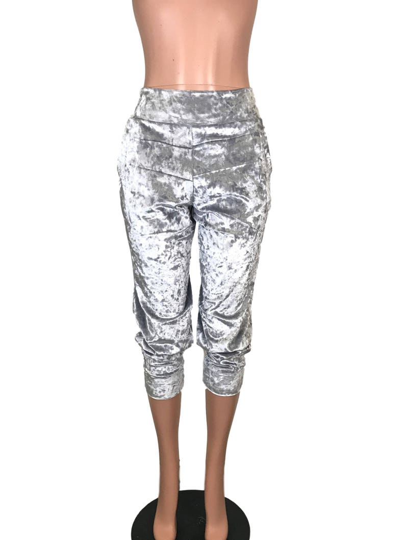 67c6ad6e4e61b Silver Crushed Velvet Joggers w/ Pockets High Waisted Jogger   Etsy