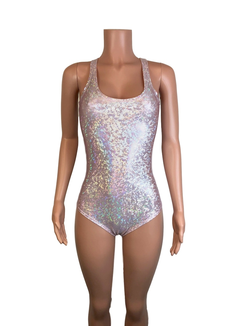 781118d9ac Pink Blush Holographic Bodysuit Leotard Bathing Suit | Etsy