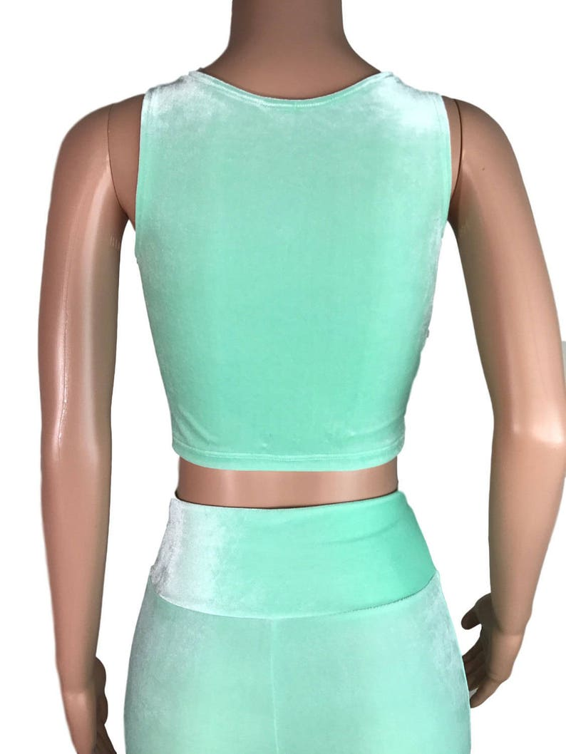 a41d6eb24a992 Mint Green Velvet Crop Top bodycon Clubwear Rave Wear