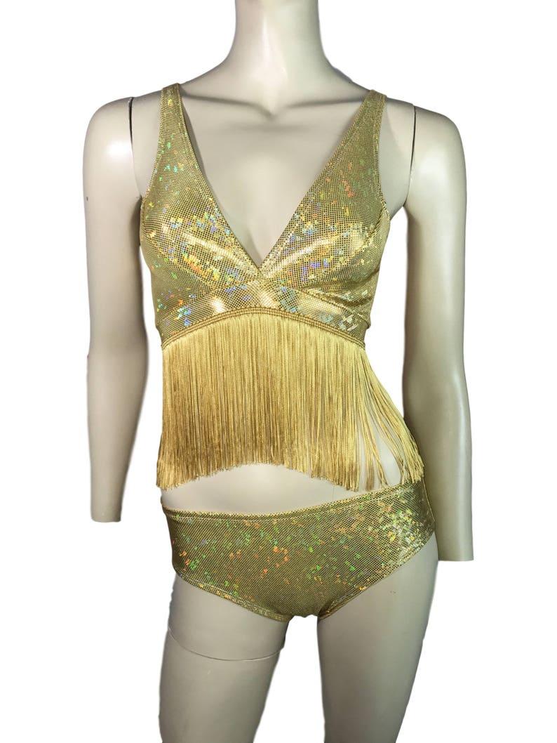 457daa646ba74 Gold Holographic Fringe Crop Top Bralette Rave Wear