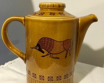 Vintage 70s Pallisy English Taurus Carmel Coffee Pot