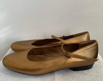Robert Clergerie vintage gold leather ballerinas